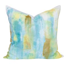 Ice dye pillow with hand painted gold by @thetiffanypratt  _ One of a kind exclusively at Tonic Living. (CLick to buy!)