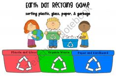 Earth Day Recycling Game from Pioneer Teacher on TeachersNotebook.com (8 pages)  - Earth Day Recycling Game - students sort what goes into what bin.