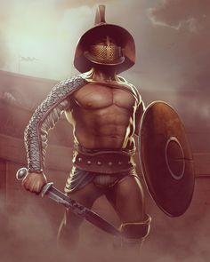 #illustration #gladiator #fighter #anciet #sword #blood #shield #colosseum #fight