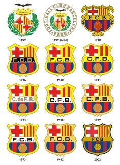 the FC Barcelona logos throughout the years