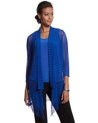 I'll be taking the blue fringe jacket and tank on my South Pacific cruise. Looks great with black or slate gray pants as an informal outfit. Pair it with white pants and you have a snazzy casual night ensemble. Travelers Collection Fringe Mesh Jacket #chicos
