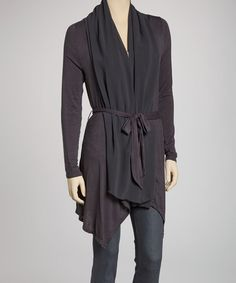 Take a look at this Charcoal Belted Shawl Collar Cardigan by MONORENO by Mür on #zulily today!
