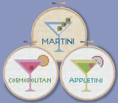 THREE MARTINIS - Mini drink ornaments coasters - Modern Counted Cross Stitch Pattern - pdf instant download