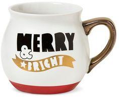 """Threshold """"Merry & Bright"""" 16oz Stoneware 16oz Belly Mug White - Threshold"""