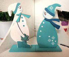 Weihnachtsdeko - 1 Set Holz-Figuren Deko Schneemann - ein Designerstück von DekoBastelshop bei DaWanda