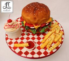 Burger Cake - For all your cake decorating supplies, please visit craftcompany.co.uk