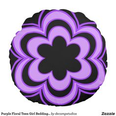 Purple Floral Teen Girl Bedding Decorative Accent Round Pillow