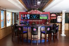 Stewart McVicar's basement is entirely Cubs-themed.
