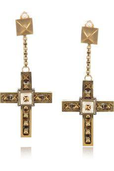 Lanvin swarovski crystal cross clip earrings