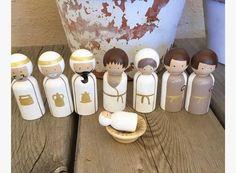 Items similar to Nativity set peg dolls on Etsy Christmas Nativity, Diy Christmas Ornaments, Homemade Christmas, Kids Christmas, Xmas, Nativity Peg Doll, Wood Peg Dolls, Nativity Stable, Christmas Activities For Kids