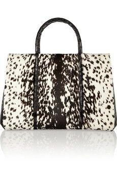 Nancy Gonzalez - Printed calf hair and crocodile tote Trendy Handbags, Purses And Handbags, Nancy Gonzalez, Goodie Bags, Christian Louboutin Shoes, Handbag Accessories, Crocodile, Tote Bag, My Style