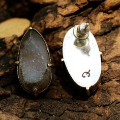 Druzy teardrop post earrings in silver setting Check more at