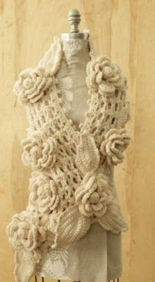 Edivana Croche flowers and leaves for scarf