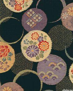Japanese Import - Temari Ball Circles - Black - DOBBY CLOTH