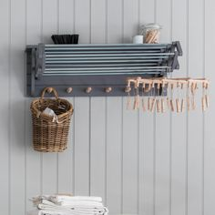 Wooden Extending Clothes Dryer in White or Grey Boot Room Utility, Utility Room Storage, Storage Spaces, Clothes Drying Racks, Clothes Rail, Clothes Dryer, Clothes Hanger, Oven Glove, Tea Towels