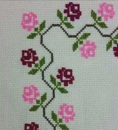 Cross Stitch Borders, Cross Stitch Flowers, Cross Stitch Designs, Cross Stitching, Cross Stitch Patterns, Ribbon Embroidery, Cross Stitch Embroidery, Example Of Prayer, Palestinian Embroidery