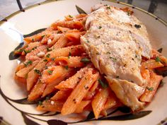Grilled Chicken & Tomato Cream Sauce -- Use whole wheat or Barilla Plus pasta and ff half and half