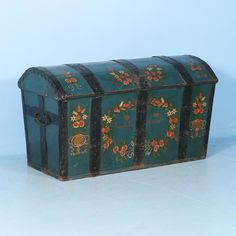 Antique Swedish Dome Top Trunk Painted Green, Dated 1847 | Scandinavian Antiques & More