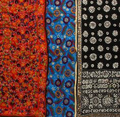 Phulkari Dupattas from Punjab with Threadwork and Sequins