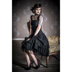 """Traumhaftes Gothic-Kleid """"Soul Dress""""  #Kleid mit figurbetonter Korsagenoptik, abnehmbare Korsage mit Reißverschluss auf der Front und Schnürung auf dem Rücken. Der vordere Teil des Rockes lässt sich wunderschön raffen. Die Länge beträgt ca. 89 cm. #gothic #empstyle"""