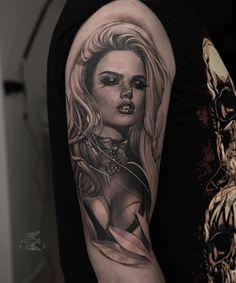 Tattoo Sasha Sorsa - tattoo's photo In the style Chicano, Male, Gir Pin Up Girl Tattoo, Girl Face Tattoo, Girl Arm Tattoos, Baby Tattoos, Body Art Tattoos, Chicanas Tattoo, Tattoo Now, Hippe Tattoos, Chicano Tattoos Sleeve