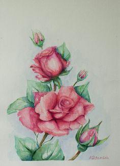 Roses Still Life Original Watercolor Painting by PDisanska on Etsy, $30.00