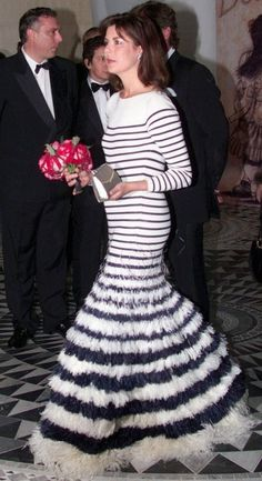 """Princess Caroline of Monaco at the Monte Carlo sporting club for the """"Bal de la Rose"""", a yearly charity event for the Princess Grace foundation 25 Mar 2000 IN A PULL MARIN DRESS Charlotte Casiraghi, Andrea Casiraghi, Grace Kelly, Princesa Alexandra, Albert Von Monaco, Karl Otto, Ernst August, Fashion Week, Royals"""