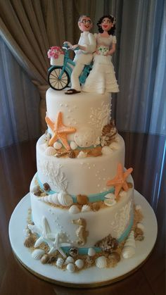 Shell cake decoration: a super cake for every occasion Beach Wedding Bouquets, Beach Wedding Centerpieces, Wedding Cake Decorations, Beach Weddings, Beach Wedding Cakes, Ocean Cakes, Beach Cakes, Themed Wedding Cakes, Wedding Cake Rustic