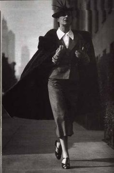 Diana Vreeland- the woman was sio ineffable chic that Harpers Bazaar sough her out while she was as she would say- merely a housewife in Brearly. She had authority, wit and charm. I own the original issue in which this image was first seen Harper's Bazaar, 1936.