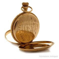 Interior of antique New Orleans 14K gold watch, for Anna