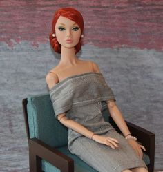 Poppy Doll Club | Next is Forget Me Not (redhead) in a gray off-the-shoulder sheath. The ...