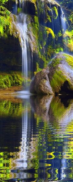 Inspiration For Landscape photography Picture Description Waterfall Reflection Nature Pictures, Cool Pictures, Beautiful Pictures, All Nature, Amazing Nature, Green Nature, Beautiful Waterfalls, Beautiful Landscapes, Beautiful World