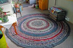 Crocheted Rag Rugs - recycled materials  NEW PATTERN BOOK available at Craftsy.com