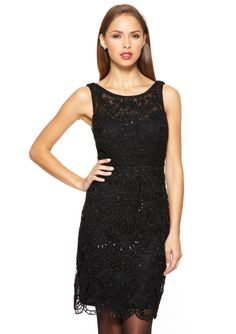 SUE WONG Lace Overlay Illusion Neck Dress $179.99