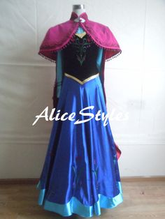 Diseny Costume Disney Princess Anna Costume Cosplay Costume Anna Dress With Cloak Custom Made - ACTUAL photos of the costume sold that i love the cape for. $139 for cloak and dress, or $69 for the cape only