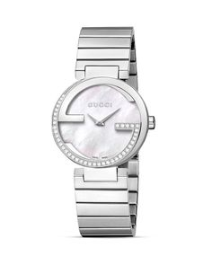 Gucci Interlocking Collection Bracelet Watch with Diamonds & White Mother-Of-Pearl, 29mm