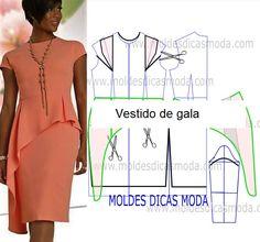 Veja a publicação completa no site. Coral Dress, Peplum Dress, Couture, Sewing Clothes, Pattern Making, Refashion, Pattern Fashion, Ideias Fashion, Sewing Patterns