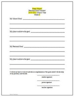 Goal Setting Student Sheet for Parent Teacher ConferencesThis is a one page document that is great to use for goal setting for parent teacher c...