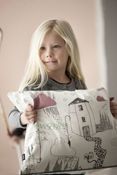 Ferm Living cushion(This is bedding you can buy, but wouldn't it be great to have your child use fabric markers or crayons and make a gift for Grandma? Fabric Painting, Fabric Art, Fabric Crafts, Crafts For Kids, Diy Crafts, Fabric Markers, Make A Gift, Painting For Kids, Kids Decor