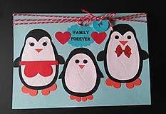 Papiernictvo - vianočný/zimný pozdrav - rodinka tučniakov - 6097492_