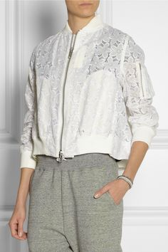 Sacai | Sacai Luck embroidered cotton-lace bomber jacket