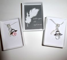 Feathers Appear When Angels are Near Remembrance Delicate Necklace 925 Silver Feather and Crystal Angel on silver plated snake chain Small Gift Boxes, Small Gifts, Remembrance Gifts, Organza Gift Bags, Novelty Gifts, Clear Crystal, Necklace Lengths, 925 Silver, Feathers