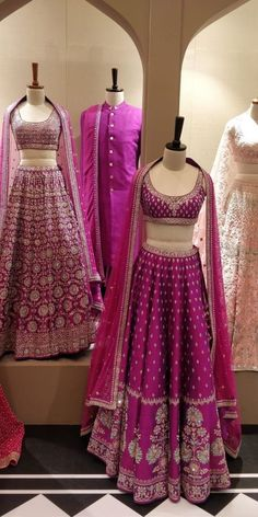 Purple wedding lehengas Love these purple wedding outfits with beautiful work Designer Bridal Lehenga, Bridal Lehenga Choli, Indian Lehenga, Pink Lehenga, Pakistani, Indian Gowns Dresses, Muslim Wedding Dresses, Indian Bridal Outfits, Indian Designer Outfits
