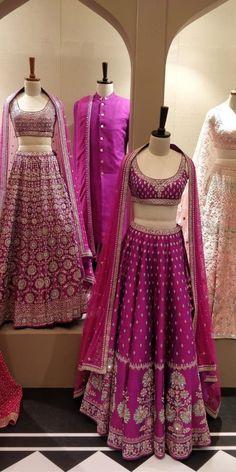Purple wedding lehengas Love these purple wedding outfits with beautiful work Indian Bridal Outfits, Indian Bridal Fashion, Indian Bridal Wear, Indian Designer Outfits, Indian Gowns, Indian Lehenga, Indian Attire, Pakistani, Sharara