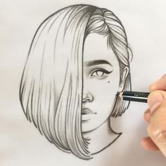 Forever by Rik Lee drawings sketches Blue Red and Black Line Portrait Sketches Tumblr Girl Drawing, Tumblr Sketches, Girl Drawing Sketches, Girly Drawings, Portrait Sketches, Art Drawings Sketches Simple, Amazing Drawings, Pencil Art Drawings, Love Drawings