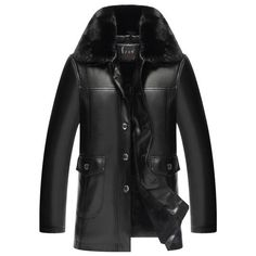 fa60fdf3aa3c Fur Collar Single-Breasted Extra Heat Men s Leather Coat Leather Jacket