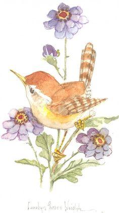 Wren with Purple Petals watercolor Watercolor Bird, Watercolor Landscape, Watercolor Paintings, Watercolor Portraits, Abstract Paintings, Art Inspiration Drawing, Bird Pictures, Vintage Birds, Bird Art