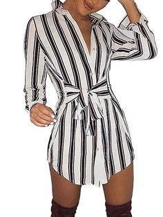 Ninimour Womens Self-Belt Stripe Print Casual Shirt Blouse Dress at Women's Clothing store: Mode Outfits, Dress Outfits, Fashion Dresses, Fashion Clothes, Cute Dresses, Casual Dresses, Casual Outfits, Kohls Dresses, Awesome Dresses