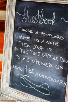 Our Rustic and Romantic Handcrafted Wedding - Upcycled Treasures Time Capsule - LOVE this idea!!!