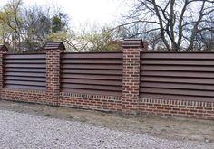 35 Ideas Exterior Wall Panels Fence For 2019 Wood Fence Design, Modern Fence Design, Brick Design, Gate Design, Exterior Wall Panels, Fence Panels, Backyard Fences, Backyard Landscaping, Wooden Gates